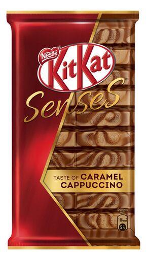 КITKAT® SENSES® TASTE OF CARAMEL CAPPUCCINO. Белый и молочный шоколад со вкусом капучино и карамели с хрустящей вафлей 112г