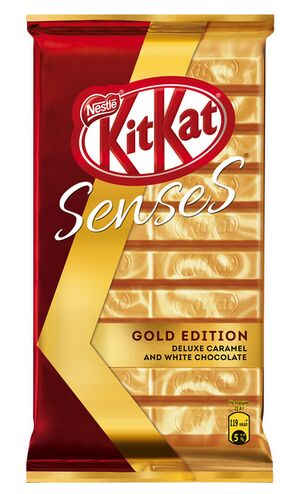 KITKAT® SENSES® GOLD EDITION. DELUXE CARAMEL. Карамельный белый шоколад и молочный шоколад с хрустящей вафлей. 112 г