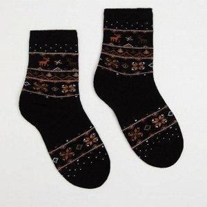 Носки женские махровые «Орнамент», цвет чёрный, размер 23-25