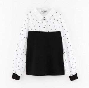 Блузка дд Набивной/чёрный, осн.ткань: сорочечная 55% хлопок 45% пэ, кулирная гладь 95% хлопок 5% эластан
