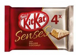 KITKAT® SENSES® TASTE DELUXE COCONUT. Белый шоколад со вкусом кокоса и молочный шоколад со вкусом миндаля с хрустящей вафлей (4х29г)116г