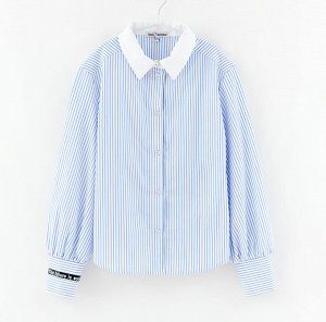 Блузка дд полоска, Осн.ткань: сорочечная 100% хлопок