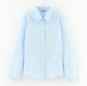 Блузка дд белый, св. голубой, Осн.ткань: поплин 98% хлопок 2% эластан