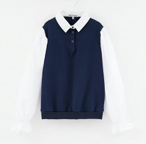 Джемпер дд Чёрный/белый,  т. синий/белый, осн.ткань: футер 96% хлопок 4% эластан отделка: сорочечная 55% хлопок 45% пэ