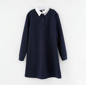 Платье дд Чёрный,т. синий, осн.ткань: полотно трикотажное 65% вискоза 30% нейлон 5% эластан