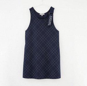 Платье дд Клетка/т. синий,осн.ткань: полотно трикотажное 65% вискоза 30% нейлон 5% эластан