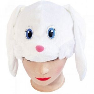 """Белый"""" Описание Шапка из белого плюша в виде мордочки Зайца. Длинные висячие ушки по бокам, большие голубые глазки и розовый набивной носик. Шапка удобно сидит на голове и идеально подходит для активн"""