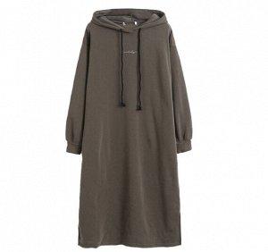Платье-толстовка на флисе, коричневый