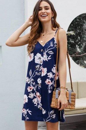 Синее платье-сарафан с белым цветочным узором