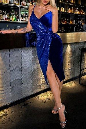 Синее платье миди с глубоким V-образным вырезом и пайетками с разрезом на юбке