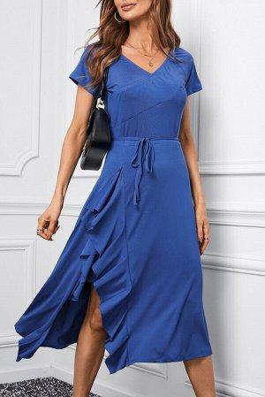 Синее платье миди с эластичной талией на шнуровке и разрезом на юбке с рюшами