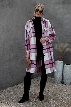 Розово-белое пальто в клетку с отложным воротником и карманами на пуговицах