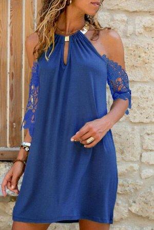 """Синее платье с открытыми плечами и кружевными рукавами с  вырезом """"капелька"""""""