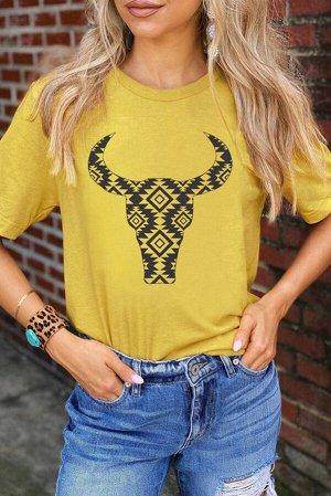 """Желтая футболка с принтом """"буйвол"""""""