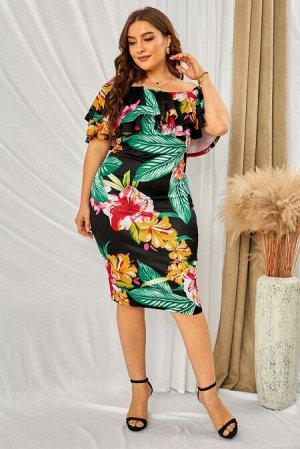 Черное платье-миди плюс сайз с открытыми плечами и разноцветным цветочным принтом