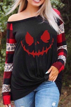 Черно-красный топ оверсайз на Хэллоуин с клетчатыми рукавами с леопардовым вставками и принтом призраки