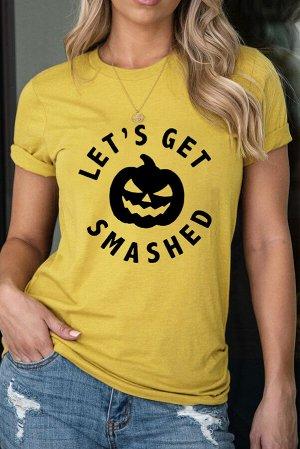 Желтая футболка с черным принтом тыква и надписью: LET'S GET SMASHED