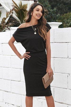 """Черное платье-миди с вырезом """"лодочка"""""""
