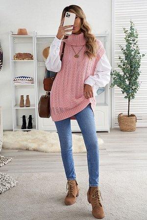 Розовый длинный жилет крупной вязки с воротником под горло