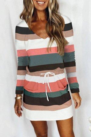 Разноцветное платье миди в полоску с эластичной талией на шнуровке