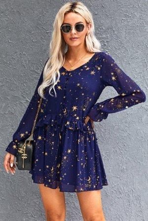 Синее платье с длинным рукавом и принтом звезды с v-образным вырезом и оборками
