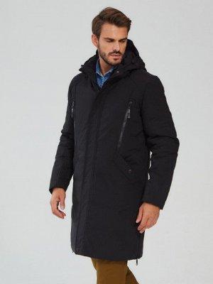 Пуховик мужской длинный/ Куртка мужская зимняя/ зимнее пальто. Цвет ТЕМНО-СЕРЫЙ (глубокий, почти чёрный)