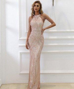 """Женское вечернее платье в пол, декорированное пайетками и камнями, цвет """"золото"""""""