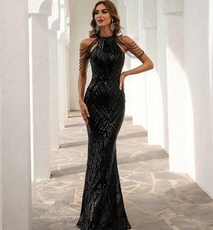 Женское вечернее платье в пол, декорированное пайетками и камнями, цвет черный