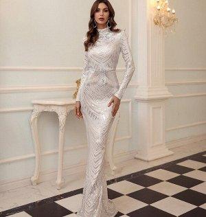 Женское вечернее платье в пол, декорировванное пайетками, длинный рукав, цвет белый