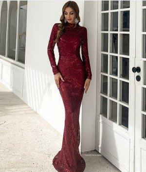 Женское вечернее платье в пол, декорировванное пайетками, длинный рукав, цвет винный
