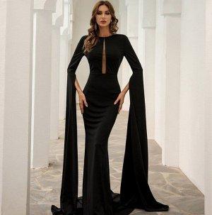 Женское вечернее платье в пол, длинный рукав, цвет черный