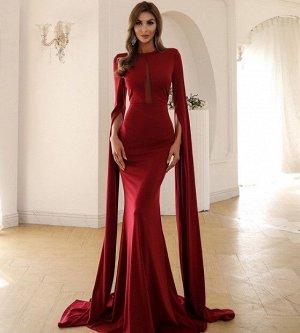 Женское вечернее платье в пол, длинный рукав, цвет красный