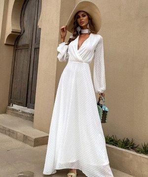 Женское вечернее платье в пол, с запахом, длинный рукав, цвет белый