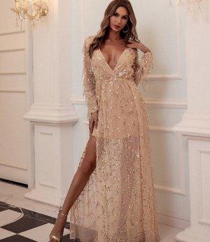 Женское вечернее платье декорированное пайетками, длинный рукав, цвет кремовый