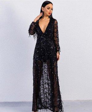 Женское вечернее платье декорированное пайетками, длинный рукав, цвет черный