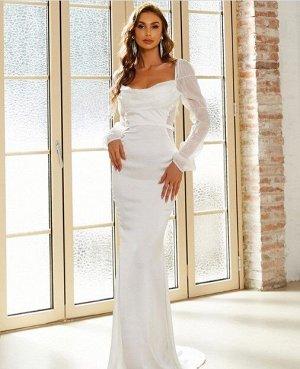 Женское вечернее платье в пол, длинный рукав, цвет белый