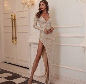 Женское вечернее платье в пол с V-образным вырезом, длинный рукав