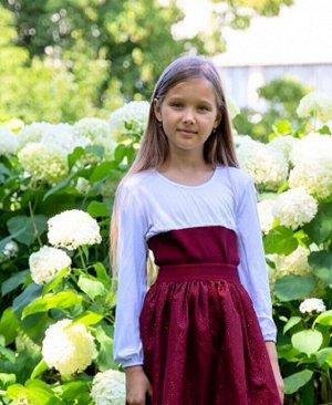 Джемпер(блузка) для девочки с бордовой отделкой Цвет: бордовый