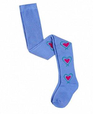 Голубые махровые колготки для девочки Цвет: тёмно-голубой