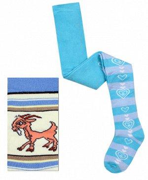 Махровые голубые колготки для девочки Цвет: голубой