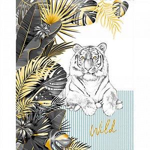 Полотенце 45х60, КУПОН, вафельное полотно, 100 % хлопок,  Белый тигр (бирюза)