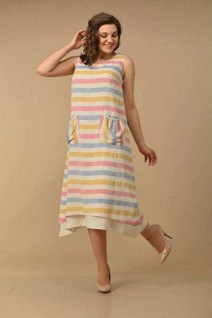Lady Style Classic 1850 сине-красно-желтый, Платье