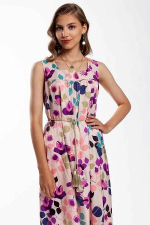 Платье Вискозное платье расширенного книзу силуэта благодаря сборке по лифу, длина до щиколотки. Вырез-каре. Платье без подкладки. Изделие декорировано съёмным готовым поясом. Любимая модель покупател