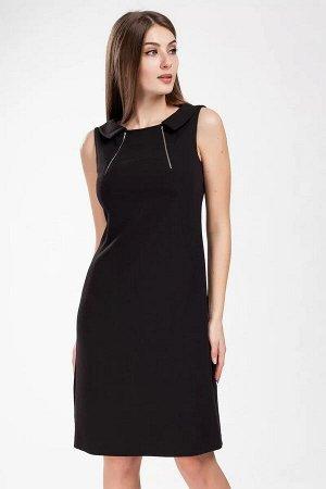 Платье Платье женское, полуприлегающего силуэта. Вырез горловины - лодочка. Застежка в среднем шве спинки на потайную тесьму-молнию. Перед с двумя фигурными рельефными швами, идущими из горловины. В р