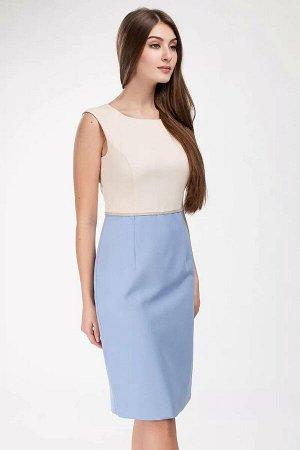 Платье Платье женское, полуприлегающего силуэта, с круглым вырезом горловины. Застежка в среднем шве спинки на потайную тесьму-молнию от горловины. Перед отрезной выше линии талии. Верхняя часть перед