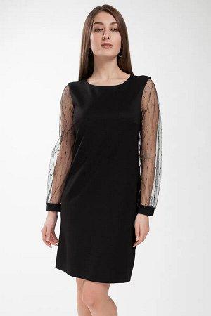 Платье Платье женское, полуприлегающего силуэта, расширенное книзу. Круглый вырез горловины. С разрезом от горловины, застегивающимся на навесную петлю и пуговицу Перед с двумя нагрудными вытачками, и