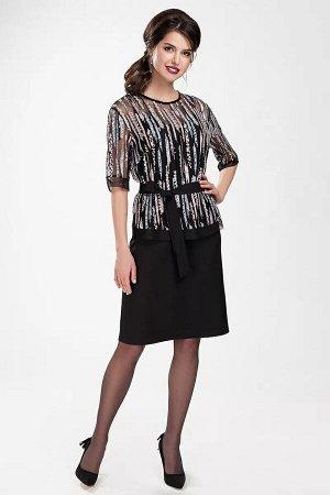 Платье Платье женское, состоит из двух изделий. Платье полуприлегающего силуэта, длиной на уровне колен, на брителях, с V-образным вырезом горловины по переду. С нагрудными вытачками по переду и талие