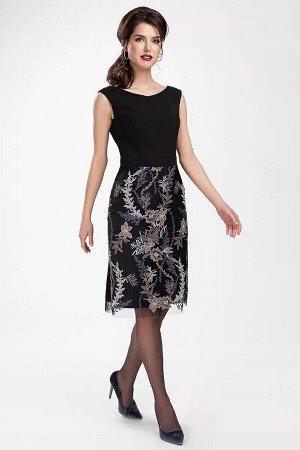Платье Платье женское, полуприлегающего силуэта, длина середина колена. С фигурным вырезом горловины. Застёжка в левом боковом шве на потайную тесьму-молнию. Отрезное по линии талии, с втачным поясом.