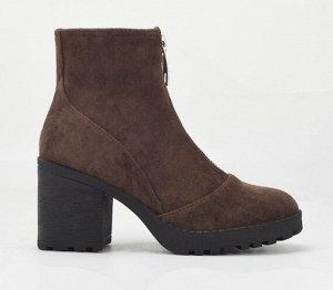 Весенне-осенние ботинки из иск. замши, коричневый