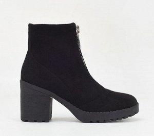 Весенне-осенние ботинки из иск. замши, черный